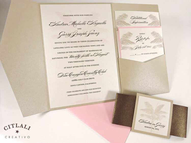 Pink & Sand Palm Tree Silhouette Beach Wedding Invitation