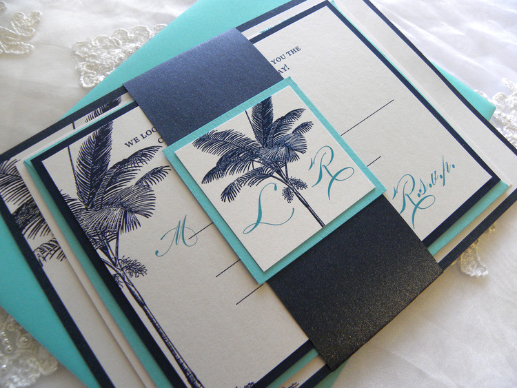 Navy Blue & Turquoise Palm Tree Beach Wedding Invitation + layered invite & rsvp card and layered monogram + solid belly band (all optional)