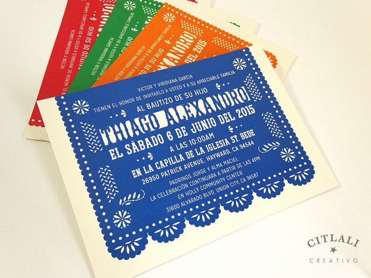 "5x7"" Size (A7) Papel Picado Banner Baptism / Bautizo Invitations in muli-colors"