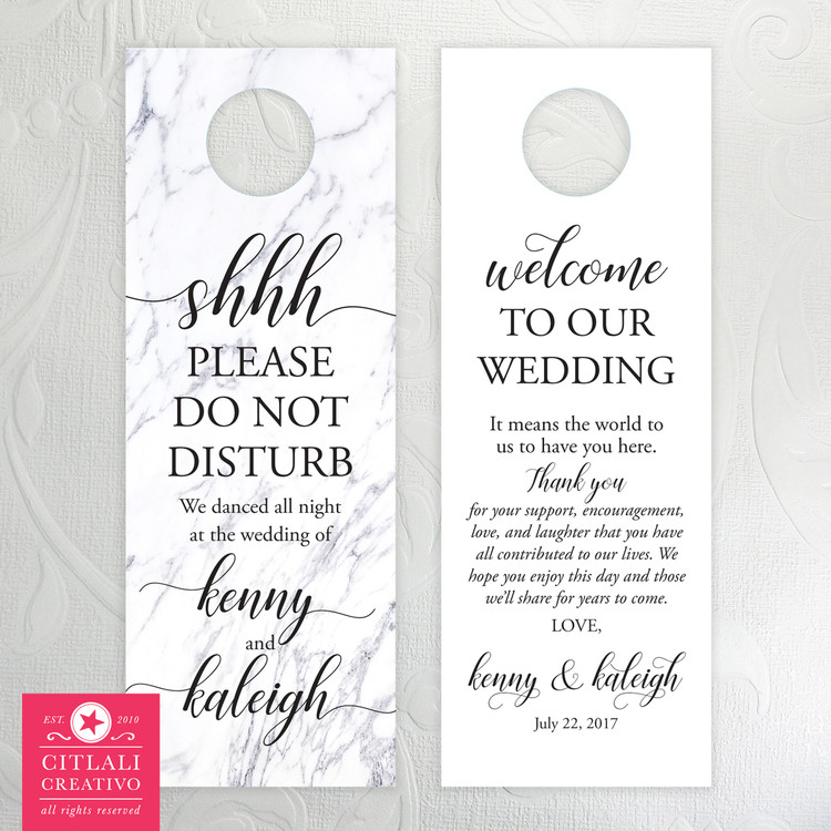 White Marble Shhh Do Not Disturb Wedding Door Hangers