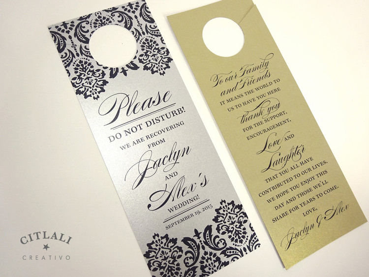 Please Do Not Disturb Damask Hotel Guest Wedding Door Hangers