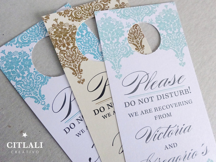 Elegant Floral Damask Do Not Disturb Hotel Guest Wedding Door Hangers