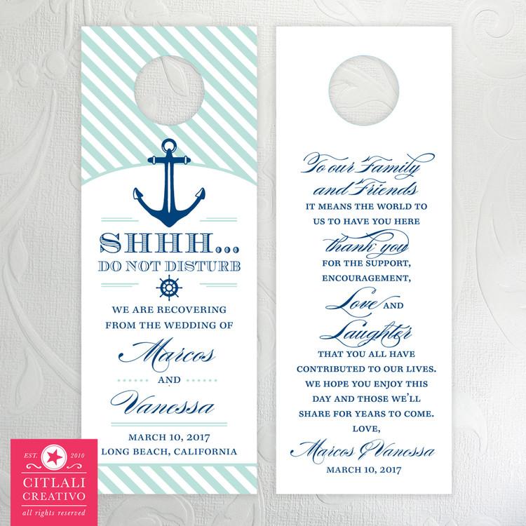 Nautical Anchor Striped Do Not Disturb Wedding Door Hangers