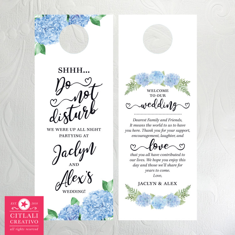 Blue Hydrangeas Shhh... Do Not Disturb Wedding Door Hangers for Guests
