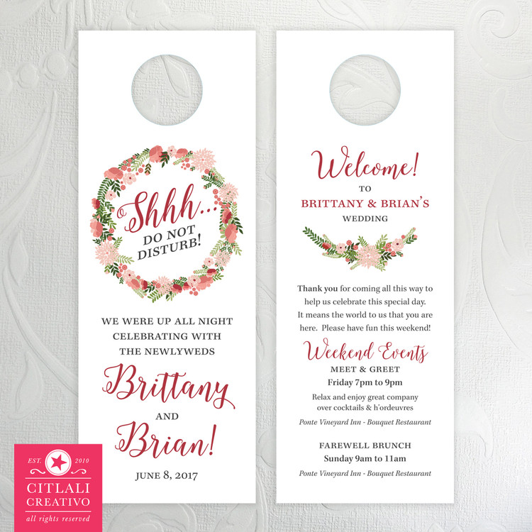 Marsala Floral Wreath Shhh Do Not Disturb Wedding Guest Door Hangers