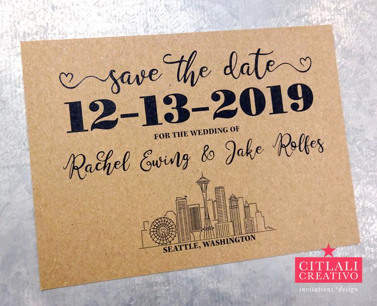 Seattle Skyline Script Save the Dates
