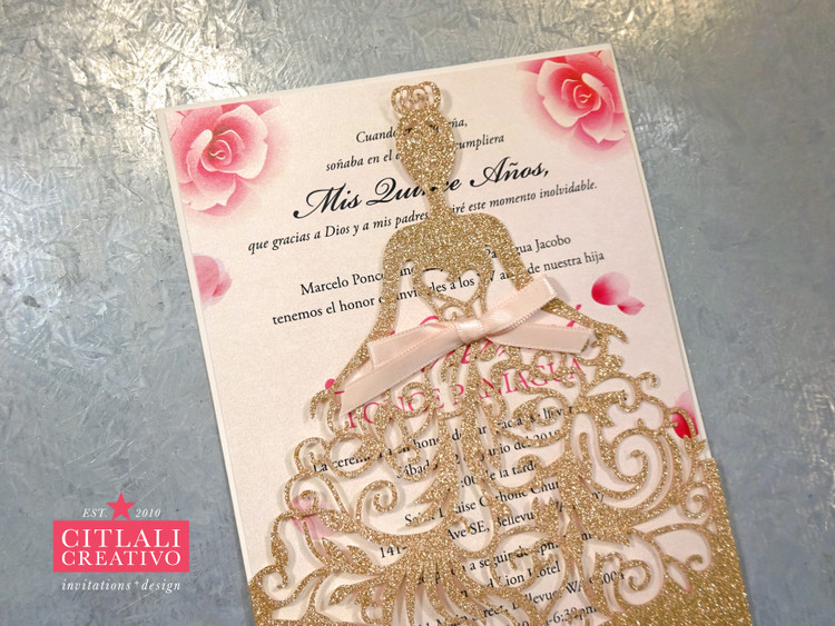 Rose Gold Glitter Quiceañera Laser Cut Dress Girl Invitations