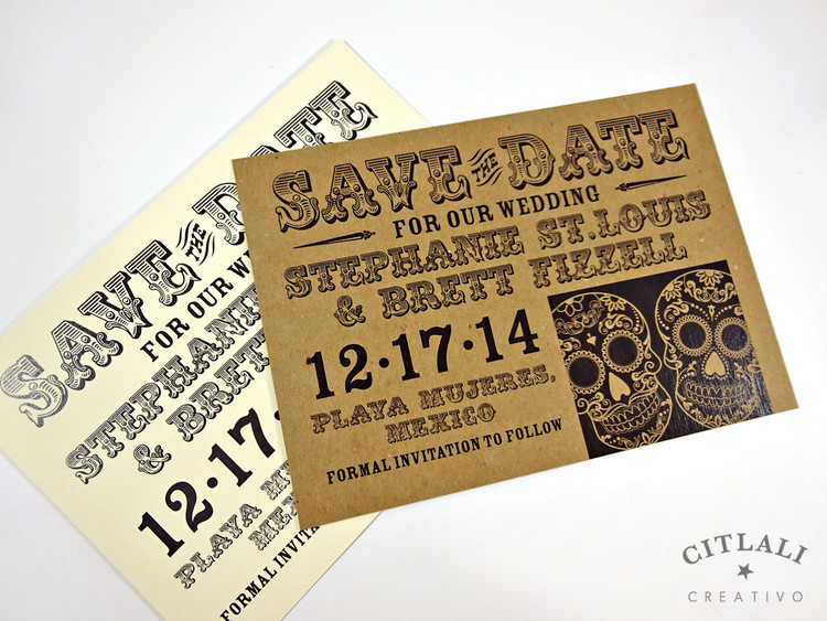 Bold Day of the Dead Sugar Skull Duo Save the Date Card