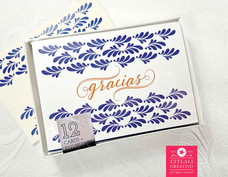 Talavera Spanish Tile Inspired Thank You Blank Note cards + envelopes