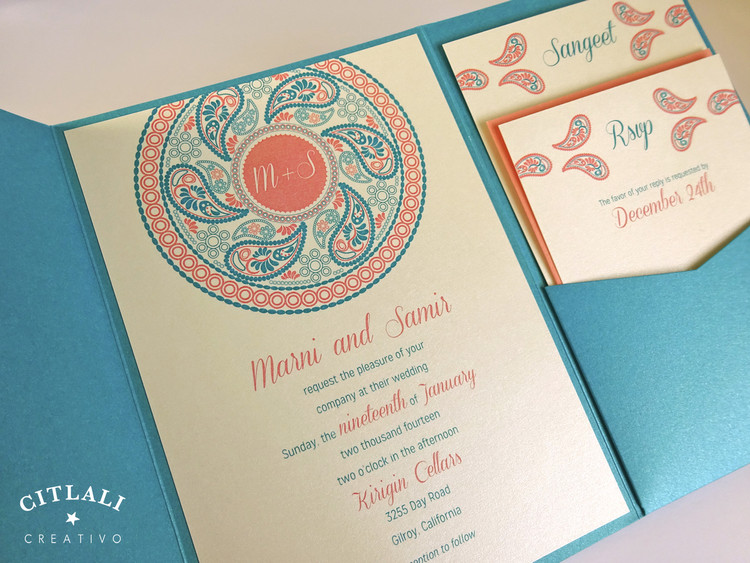 Paisley Henna Medallion Pocket Wedding Invitations in Coral & Teal