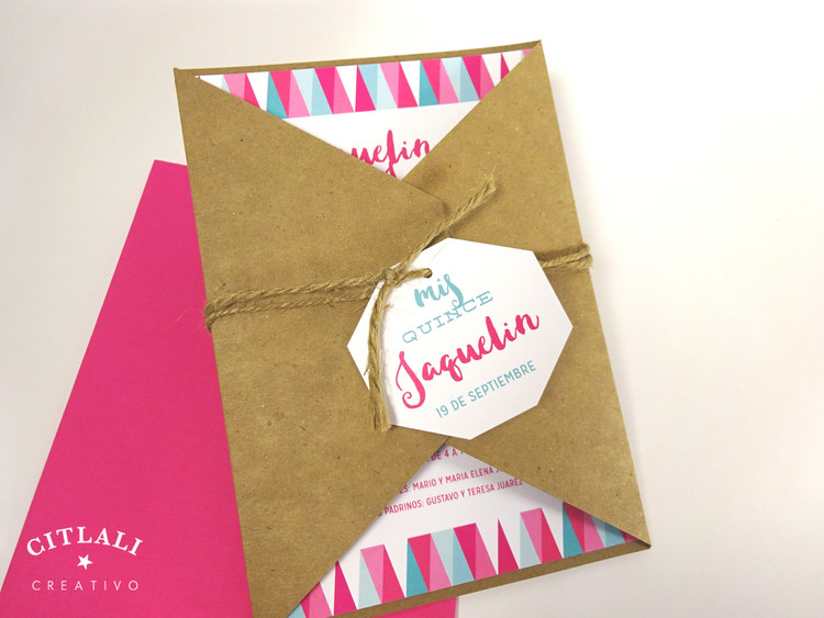 Modern Geometric Birthday Kraft Unique folder Invitations – Hot Pink & Kraft or your colors