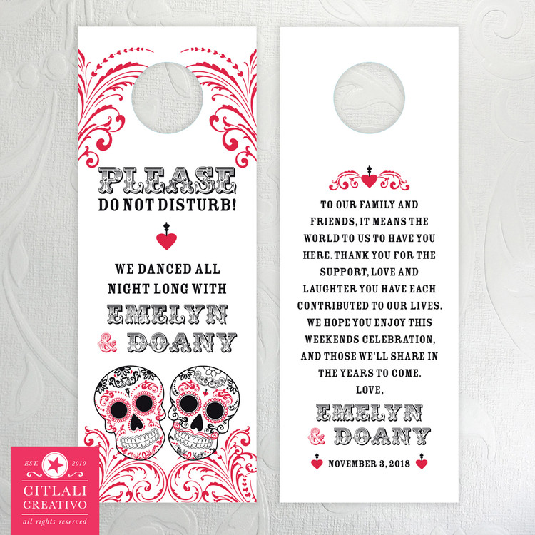 Sugar Skull Swirls Do Not Disturb Wedding Door Hangers