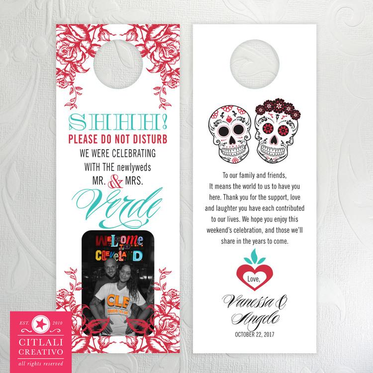 Photo Sugar Skull & Roses Do Not Disturb Wedding Door Hangers