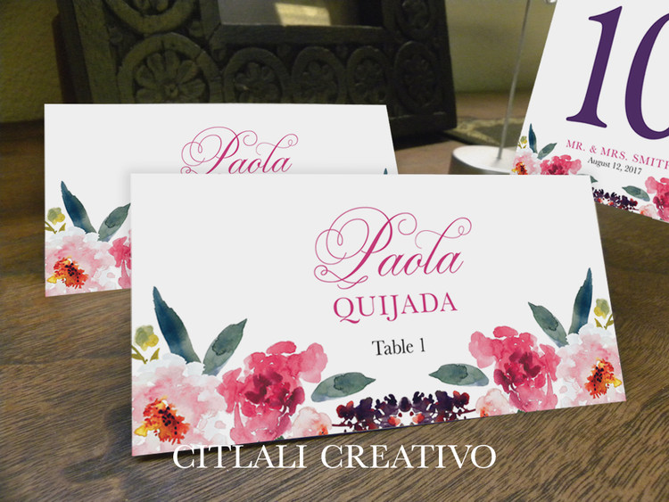 Watercolor Floral Wedding Place Cards