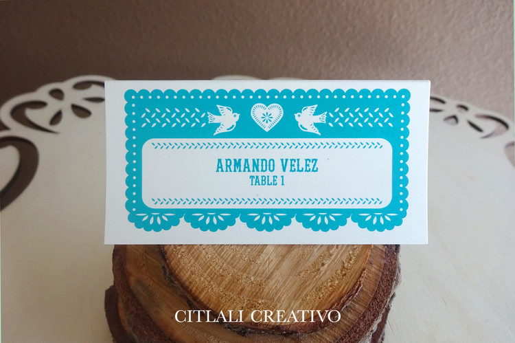 Papel Picado Heart & Love Birds Tent Style Place Cards