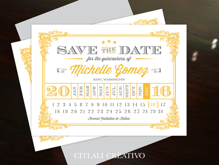 Vintage Calendar Style Quinceañera Save the Date