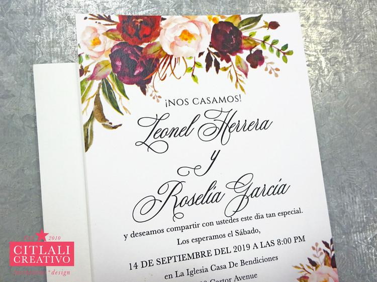 Watercolor Floral Roses Wedding Invitation