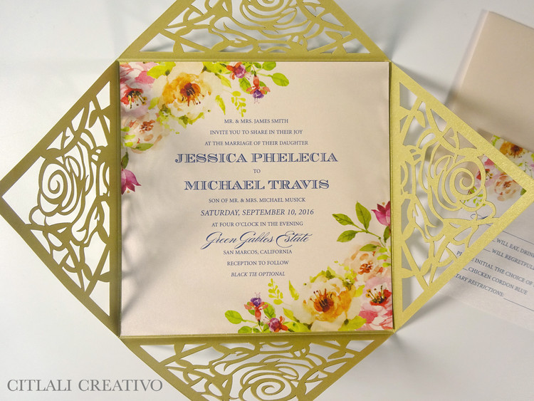 Gold & Blush Lasercut Square Wedding Invitations