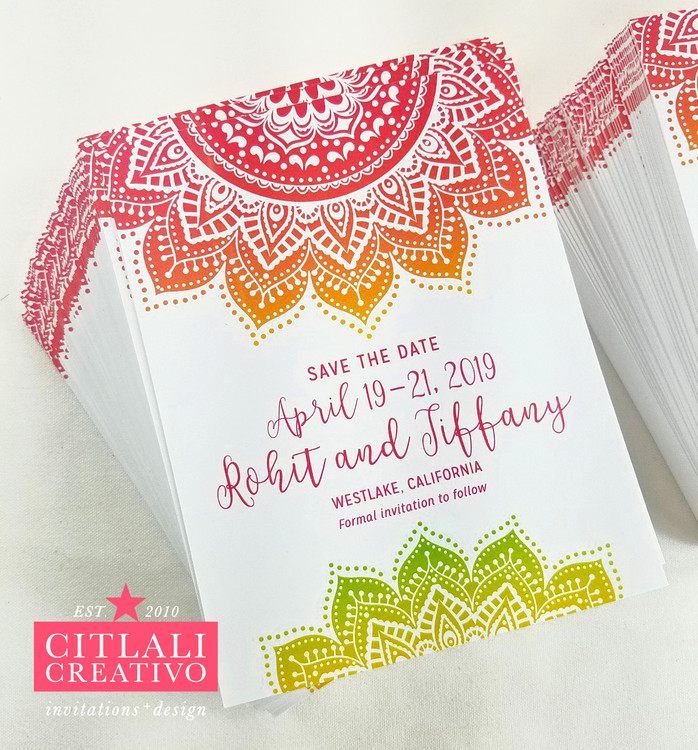 Mandala Indian Wedding Save the Date Card in Hot pink, Orange, Green Ombre