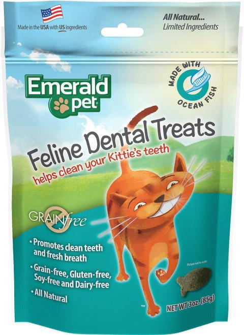 Emerald Pet Grain Free Feline Dental Treat Ocean Fish Flavor 3oz
