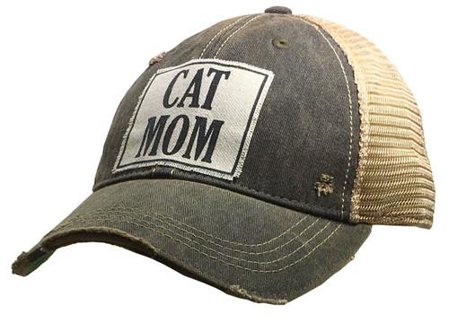 "Vintage Life Distressed Trucker Hat ""Cat Mom"""
