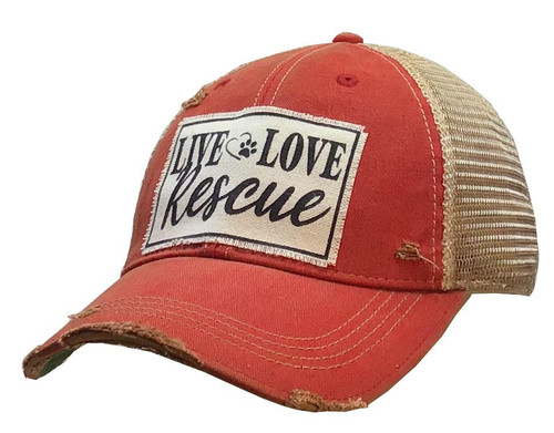 """Vintage Life Distressed Trucker Hat """"Live Love Rescue"""""""