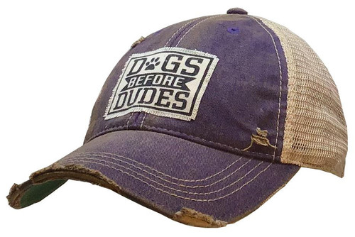 """Vintage Life Distressed Trucker Hat """"Dogs Before Dudes"""""""