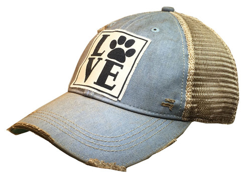 "Vintage Life Distressed Trucker Hat ""Love (Paw)"""