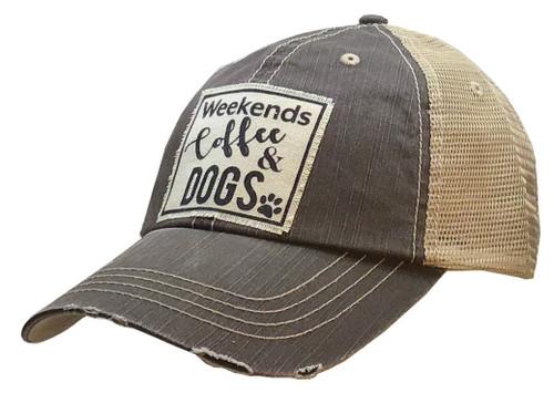 "Vintage Life Distressed Trucker Hat ""Weekends Coffee & Dogs"""
