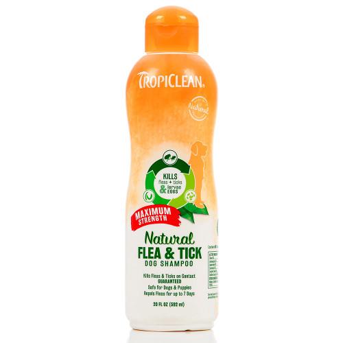 Tropiclean Natural Flea & Tick Maximum Strength Shampoo 20 oz