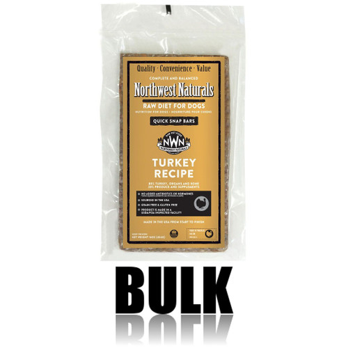 Northwest Naturals Frozen Raw Dog Food Turkey Recipe Bulk Bars 25lb