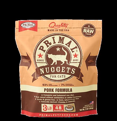 Primal Raw Frozen Feline Pork Formula Nuggets 3lb