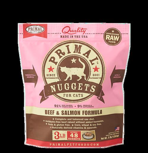 Primal Raw Frozen Feline Beef & Salmon Formula Nuggets 3lb