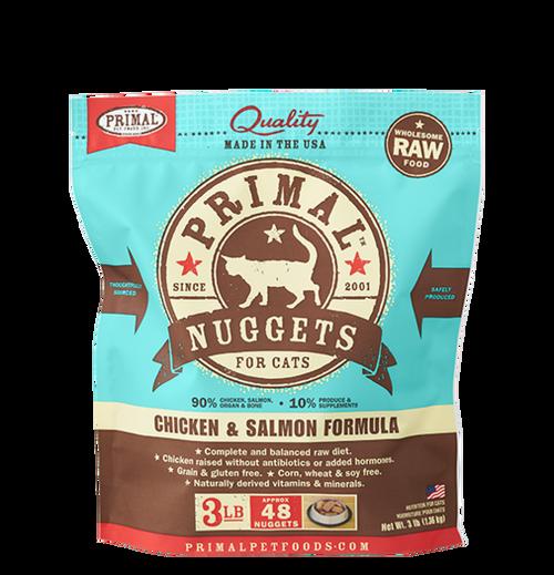 Primal Raw Frozen Feline Chicken & Salmon Formula Nuggets 3lb