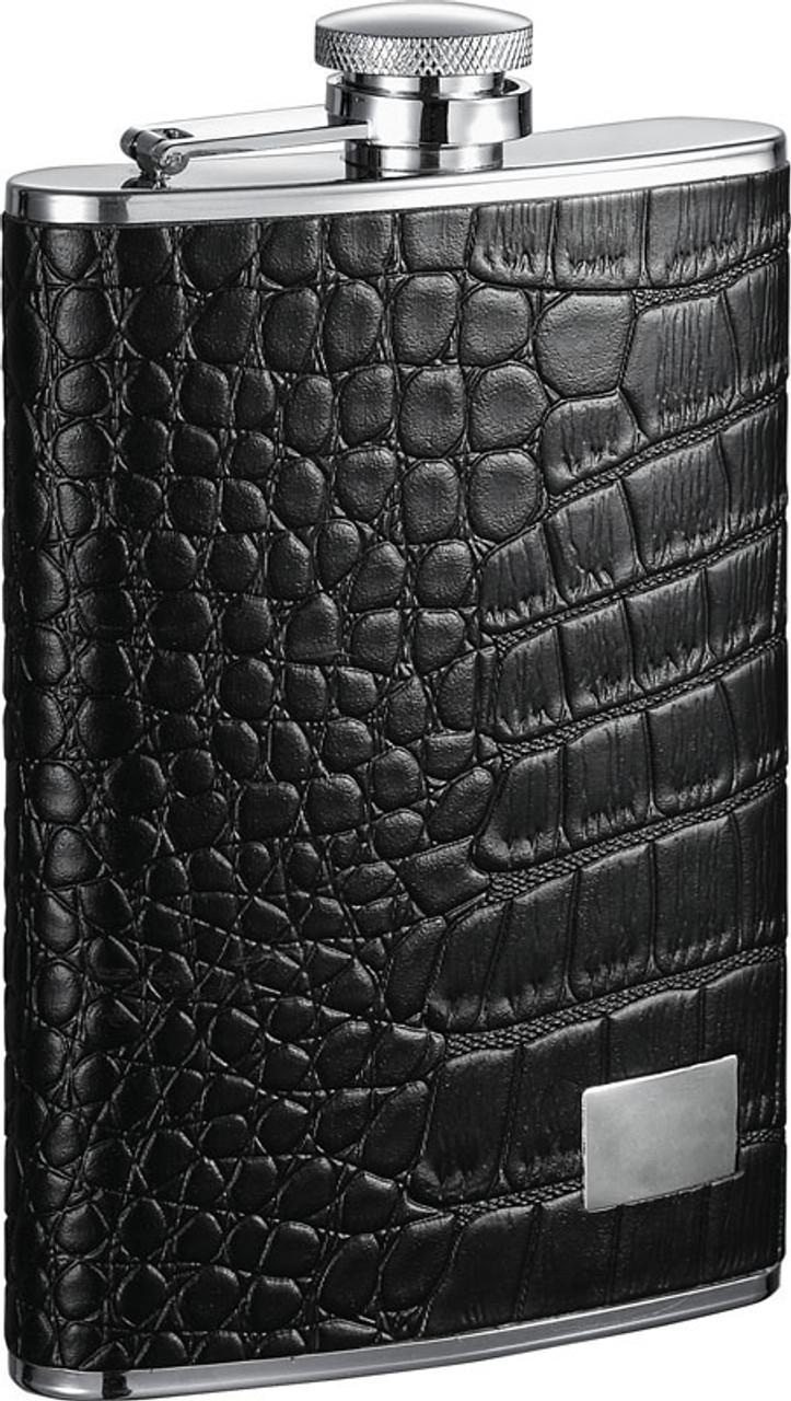 Visol Gator Leather Hip Flask 8 Oz Vf1184 Eflasks