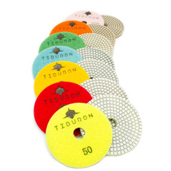 4 Inch Tiburon Diamond  White Hybrid Polishing Pads