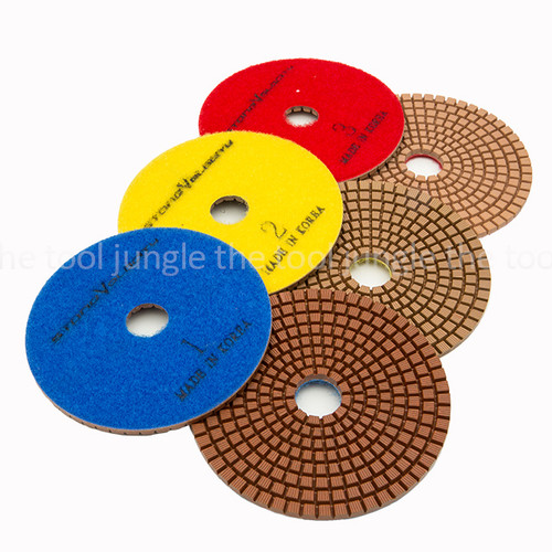 "3PC Diamond Polishing Pads 4/"" 3-Step Wet Dry for Grinding Concrete Marble Tool"