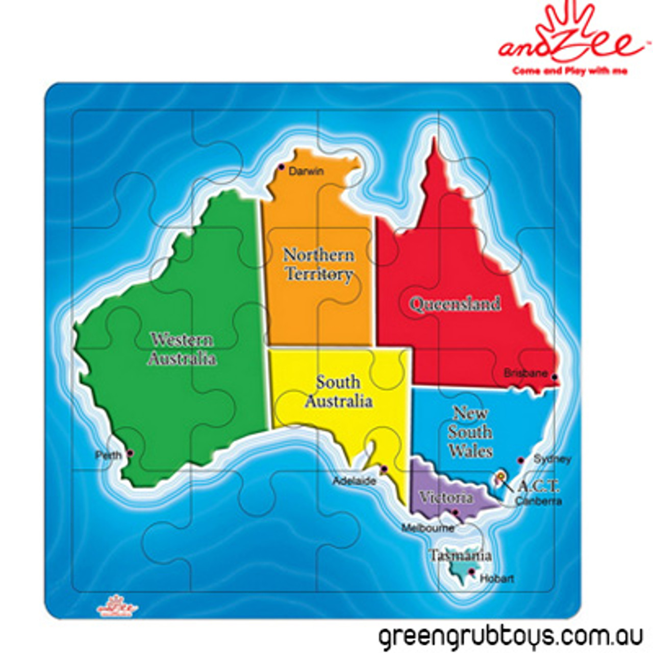 Australia On A Map.Andzee Australiana Wooden Jigsaw Puzzle Map Of Australian States 16pc