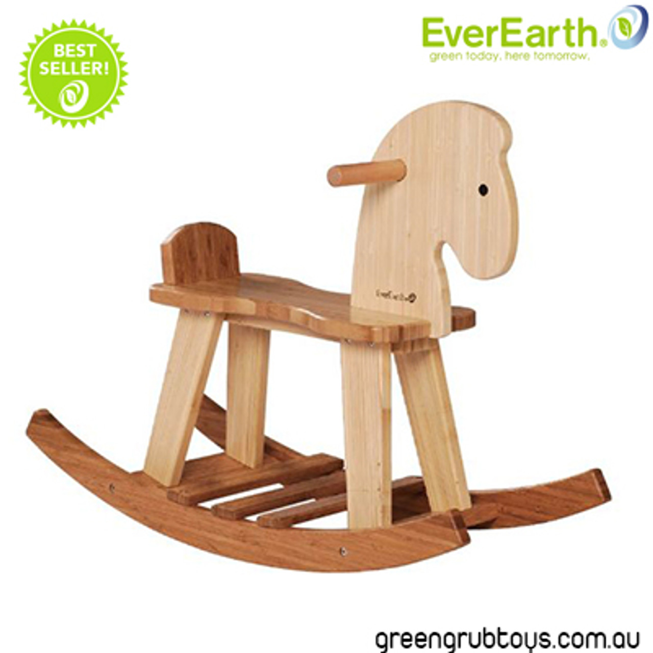 Everearth Bamboo Wooden Rocking Horse Riding Toy For Kids