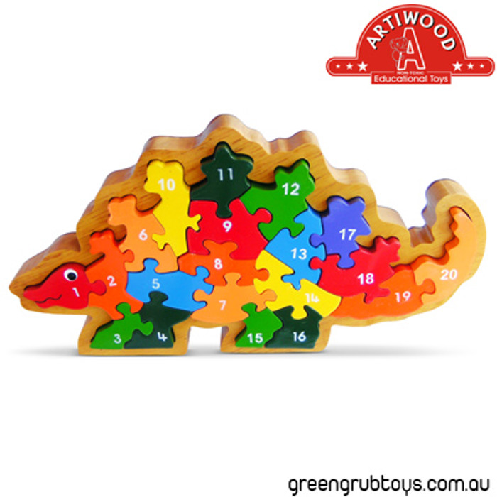 Artiwood 1 20 Dinosaur Wooden Jigsaw Puzzle With Frame Greengrub