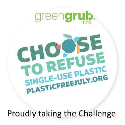 Plastic Free July 2020 badge with greengrub Wooden Toys pledging support.