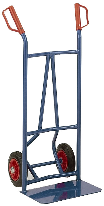 Heavy Duty Curved Back Trader Solid Wheel Sack Truck - 200kg Capacity