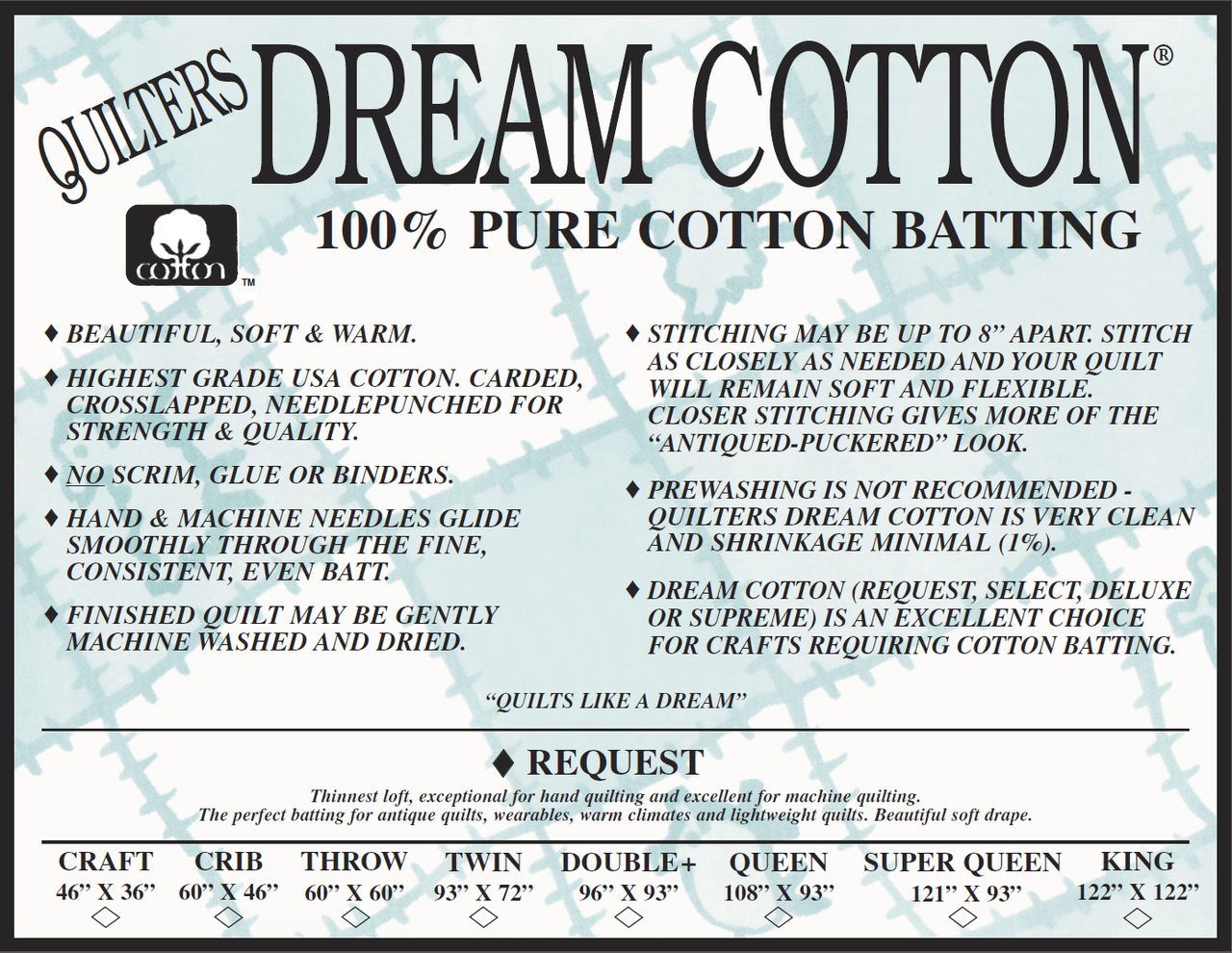 Quilters Dream Cotton - Request (Natural) - Twin
