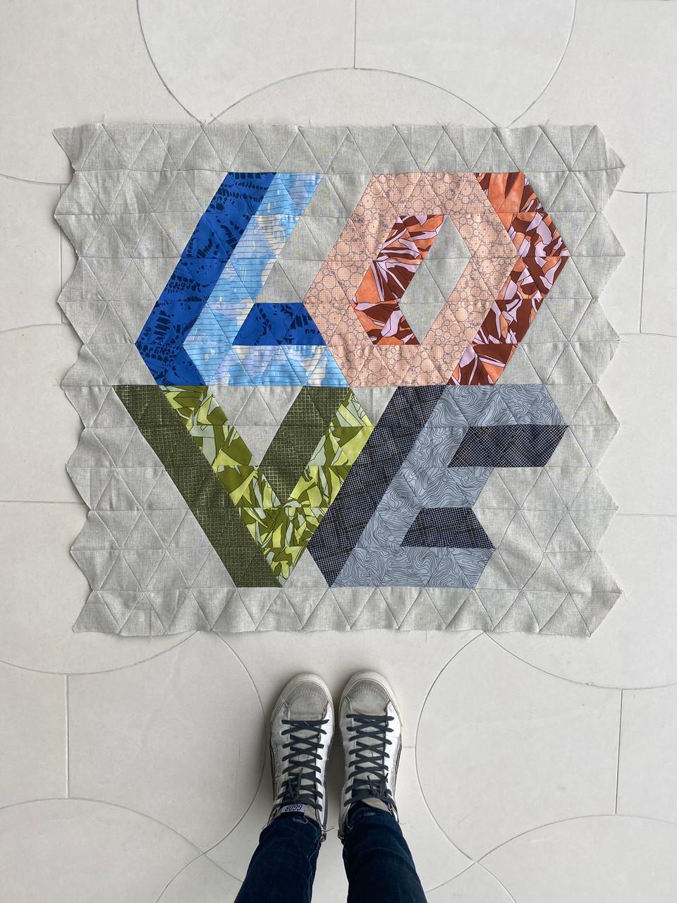 Love Triangle Mini Quilt Kit (CF Darks)