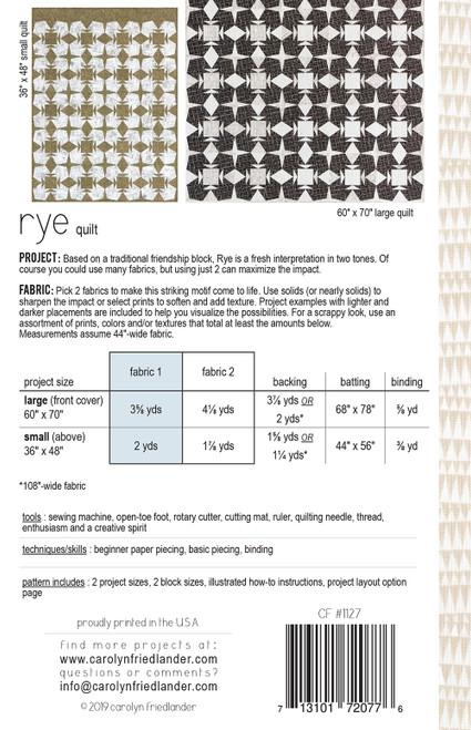 Rye Quilt Pattern