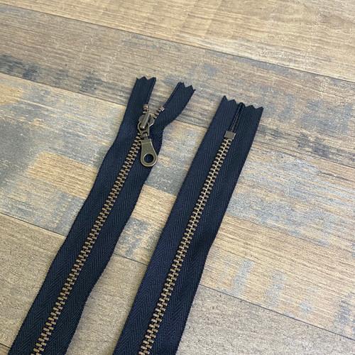 YKK Donut Pull Zipper - Black (Antique Brass)
