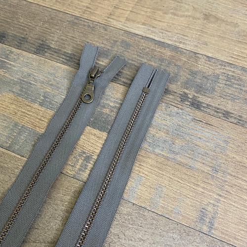 YKK Donut Pull Zipper - Gun Metal Grey (Antique Brass)