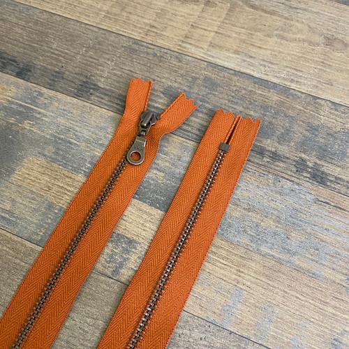 YKK Donut Pull Zipper - Rust Orange (Antique Brass)