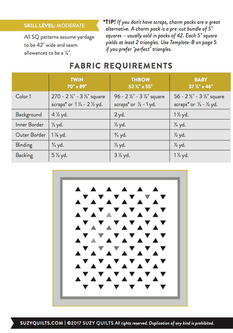 Minimal Triangles Quilt Pattern (PDF)