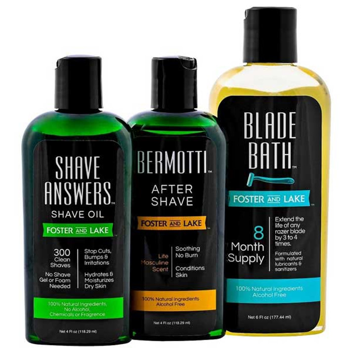 SHAVING with SHAVE ANSWERS SHAVE OIL from Foster and Lake